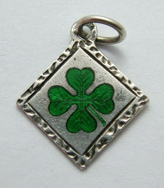 Small Vintage 1930's Silver & Green Enamel Four Leaf Clover Charm