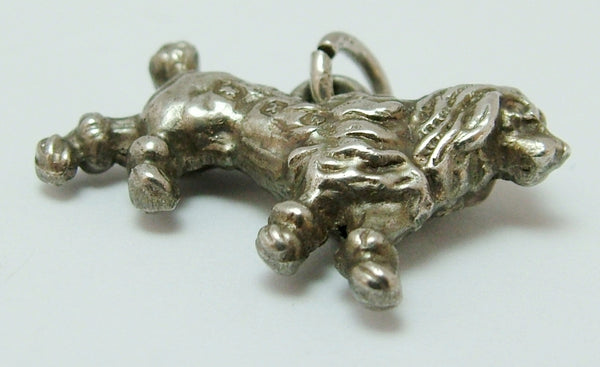 Antique Victorian Silver Puffed Poodle Type Dog Charm HM 1897 Antique Charm - Sandy's Vintage Charms