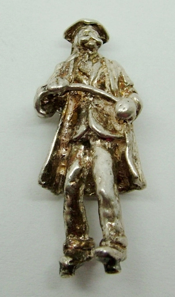 1970's Solid Silver Charm Teacher/School Master with Cane - Silver Charm - Sandy's Vintage Charms - 1