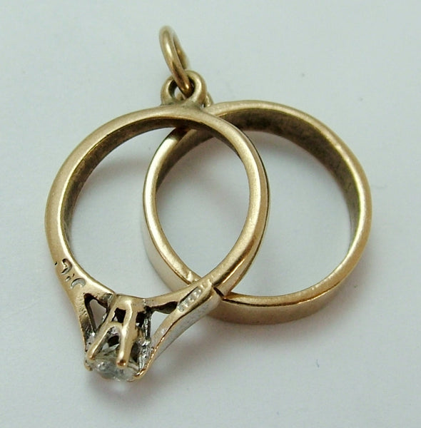 Vintage 1950's 9ct Gold Wedding Charm - Wedding Band & Engagement Ring Gold Charm - Sandy's Vintage Charms