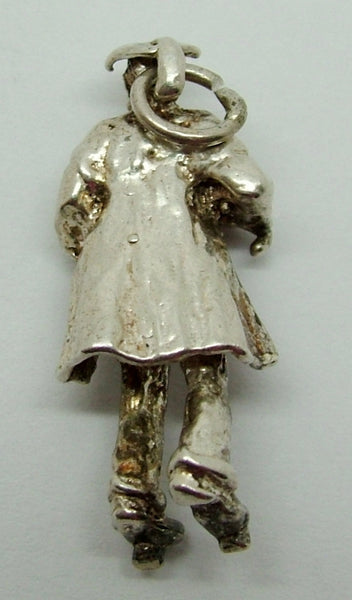 1970's Solid Silver Charm Teacher/School Master with Cane Silver Charm - Sandy's Vintage Charms