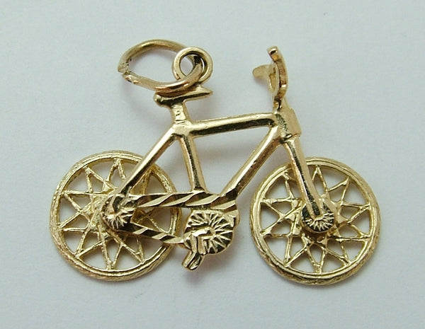Vintage 1970's 9ct Gold Bicycle Charm with Moving Wheels Gold Charm - Sandy's Vintage Charms