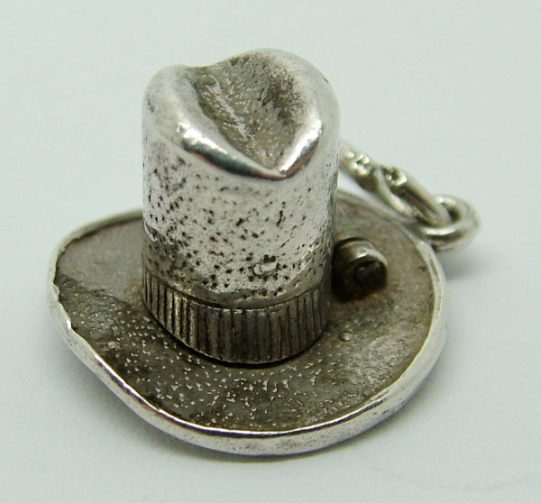 1960's Silver Opening Nuvo Stetson Hat Charm Cowboy Inside - Sandy's Vintage Charms
