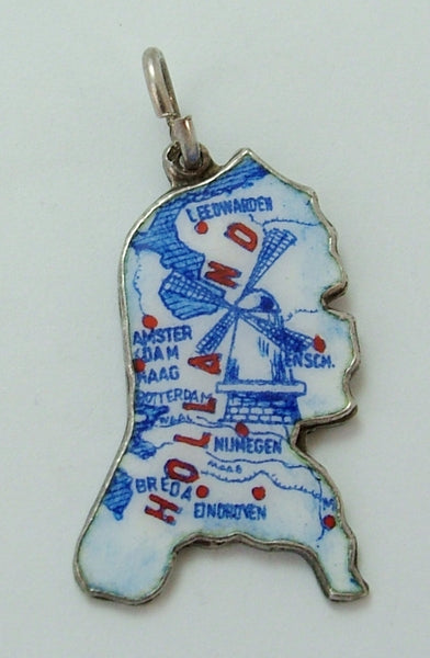 Vintage 1960's Silver & Enamel Map Charm of HOLLAND Enamel Charm - Sandy's Vintage Charms