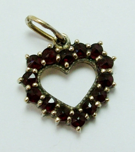 Vintage 1960's Silver Gilt & Garnet Heart Charm Silver Charm - Sandy's Vintage Charms