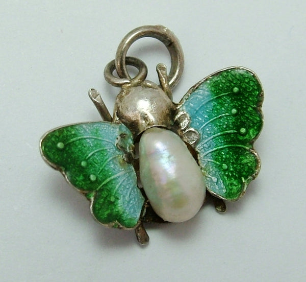 Vintage 1930's/40's Chinese Silver, Enamel & Pearl Butterfly Charm Enamel Charm - Sandy's Vintage Charms