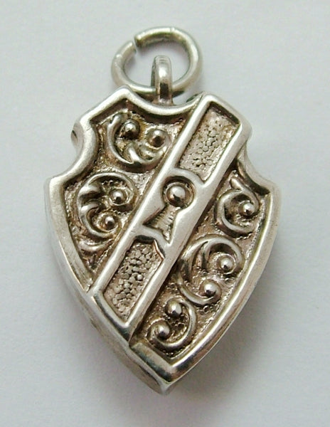 Antique Victorian c1890 Puffed Silver Padlock or Heart Lock Charm Antique Charm - Sandy's Vintage Charms