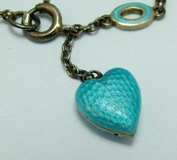 Antique Edwardian Silver & Turquoise Guilloche Enamel Puffy Heart Charm on a Matching Bracelet Antique Charm - Sandy's Vintage Charms