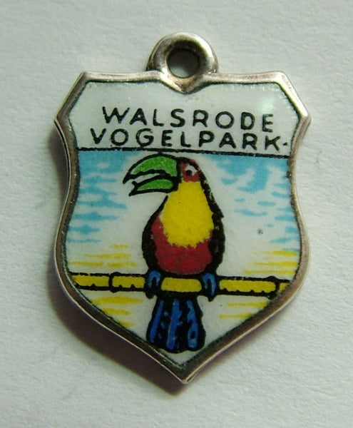 1960's Silver Plated & Enamel Shield Charm for WALSRODE VOGELPARK Shield Charm - Sandy's Vintage Charms