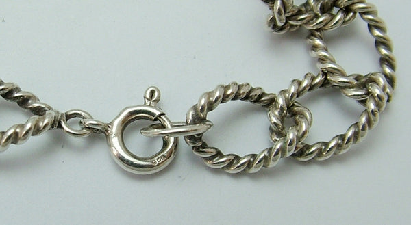 Vintage 1960's/70's Silver Bracelet 7.75 Inches Long & 12g with Rope Twist Links Bracelet - Sandy's Vintage Charms