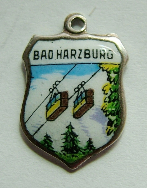 1960's Silver Plated & Enamel Shield Charm for BAD HARZBURG in Germany Shield Charm - Sandy's Vintage Charms