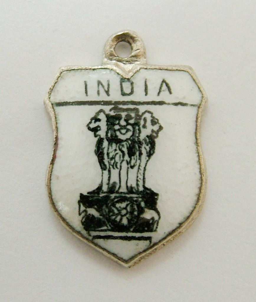 Vintage 1960's Silver Plated & Enamel Shield Charm for INDIA Shield Charm - Sandy's Vintage Charms
