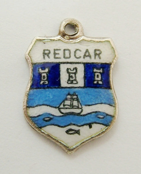 Vintage 1960's Silver & Enamel Shield Charm for REDCAR Shield Charm - Sandy's Vintage Charms