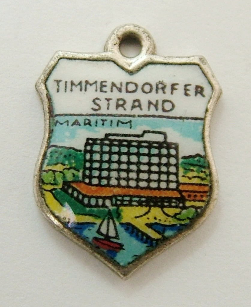 Vintage 1960's Silver Plated & Enamel Shield Charm for TIMMENDORFER STRAND in Germany Shield Charm - Sandy's Vintage Charms