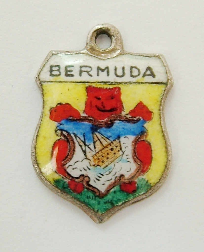 Vintage 1960's Silver & Enamel Shield Charm for BERMUDA Shield Charm - Sandy's Vintage Charms