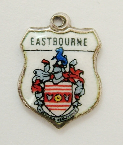 Vintage 1960's Silver & Enamel Shield Charm for EASTBOURNE Shield Charm - Sandy's Vintage Charms