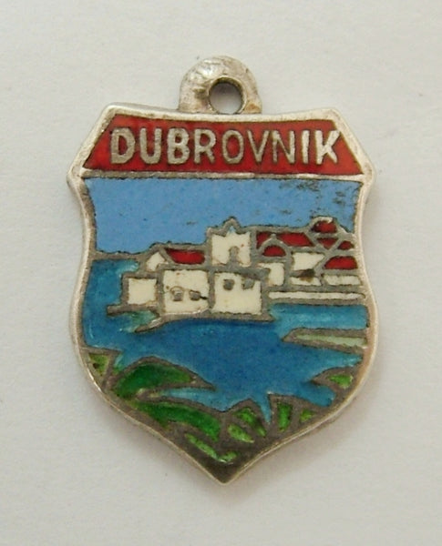 Vintage 1960's Silver & Enamel Shield Charm for DUBROVNIK in Croatia Shield Charm - Sandy's Vintage Charms
