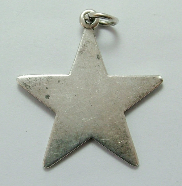Large Vintage 1970's Silver Star Charm HM 1975 Silver Charm - Sandy's Vintage Charms
