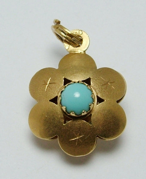 Vintage 1960's 18ct 18k Gold & Turquoise Glass Flower Charm Gold Charm - Sandy's Vintage Charms