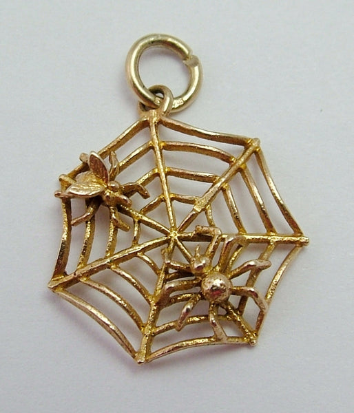 Vintage 1950's 9ct Gold Spider & Fly on a Web Charm Gold Charm - Sandy's Vintage Charms