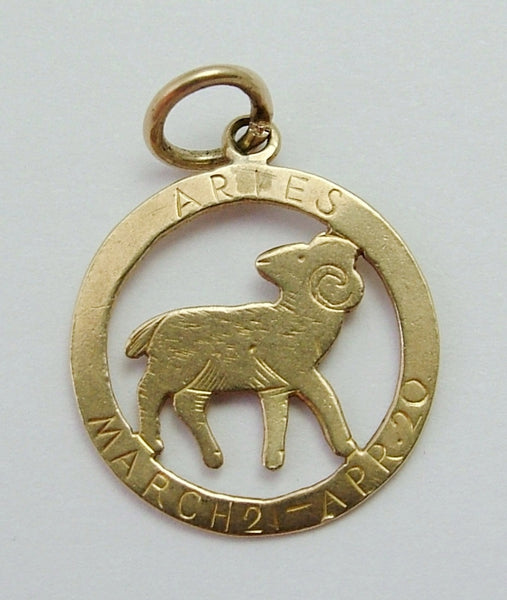 Vintage 1940's 9ct Gold Aries Ram Zodiac Disc Charm Gold Charm - Sandy's Vintage Charms