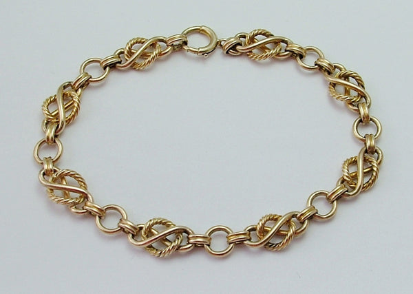 Vintage 1950's English Solid 9ct Gold Fancy Link Bracelet with Bolt Ring Fastener Bracelet - Sandy's Vintage Charms
