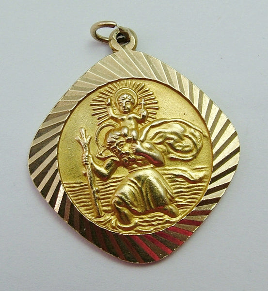 Large Vintage 1960's Solid 9ct Gold St Christopher Charm Gold Charm - Sandy's Vintage Charms