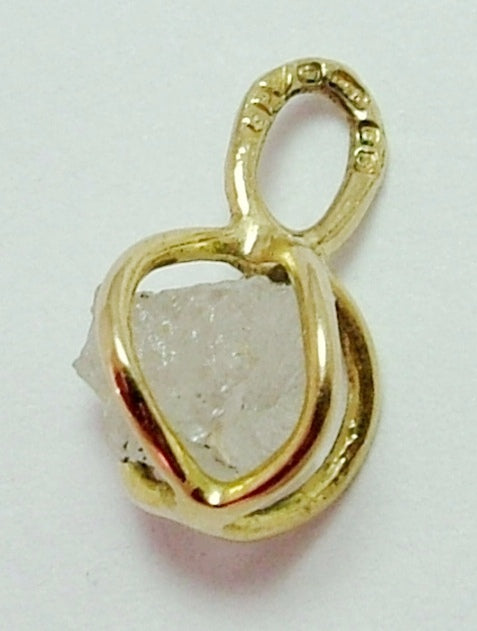 Vintage 1980's 9ct Gold & Raw Diamond Pendant or Charm HM 1981 Gold Charm - Sandy's Vintage Charms