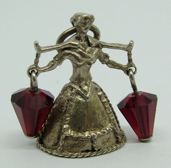 1970's Silver & Red Crystal Nuvo Milk Maid Bell Charm - Nuvo Charm - Sandy's Vintage Charms - 1