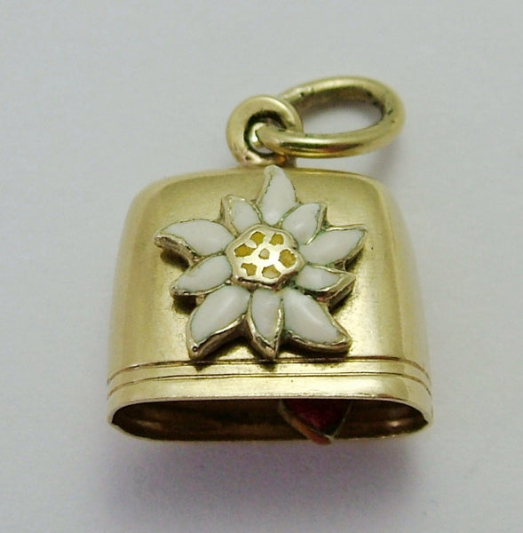 Vintage 1950's 14k 14ct Gold & Enamel Edelweiss Cow Bell Charm with Heart Clanger Gold Charm - Sandy's Vintage Charms