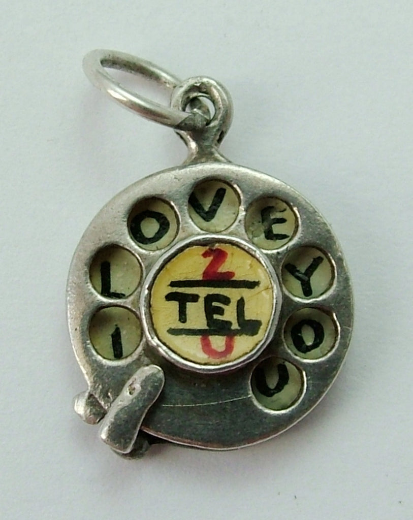 Vintage 1950's Silver & Enamel Painted Rotating Telephone Dial Charm 'I Love You' Silver Charm - Sandy's Vintage Charms