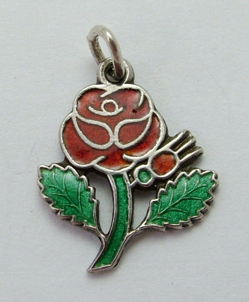 Vintage 1960's Silver & Enamel Red Rose Flower Charm Enamel Charm - Sandy's Vintage Charms