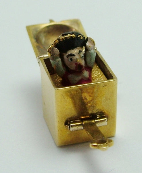 "Vintage 1950's 9ct Gold Opening ""Jack in The Box"" Charm with Pop Up Enamel Jack Gold Charm - Sandy's Vintage Charms"