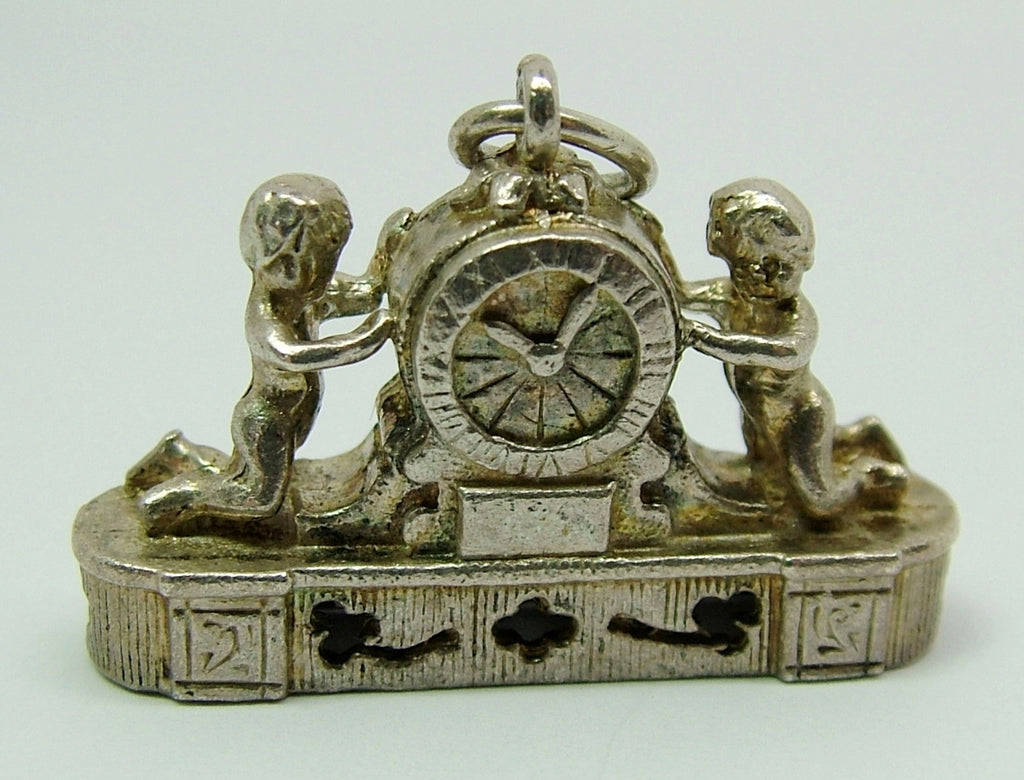Large 1960's Silver Nuvo French Mantle Clock Charm Nuvo Charm - Sandy's Vintage Charms