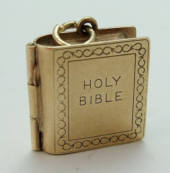 Vintage 1960's 9ct Gold Opening Bible Charm with Paper Pages Inside Gold Charm - Sandy's Vintage Charms