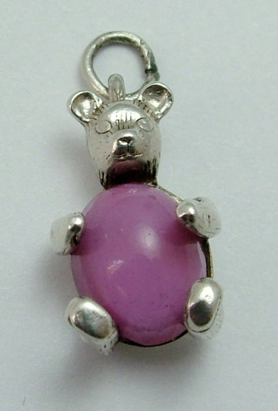 Vintage 1960's Silver & Pink Crystal Nuvo Teddy Bear Charm Nuvo Charm - Sandy's Vintage Charms