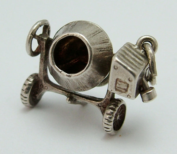 Vintage 1960's Silver Moving Cement Mixer Charm Silver Charm - Sandy's Vintage Charms