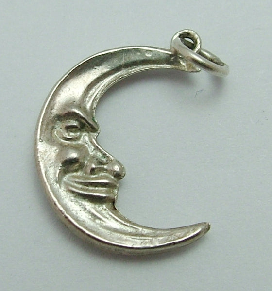 Vintage 1970's Hollow Silver Crescent Man in the Moon Charm Silver Charm - Sandy's Vintage Charms
