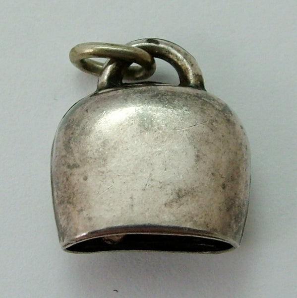 Vintage 1950's Silver & Guilloche Enamel Cow Bell Charm with Pink Roses Enamel Charm - Sandy's Vintage Charms