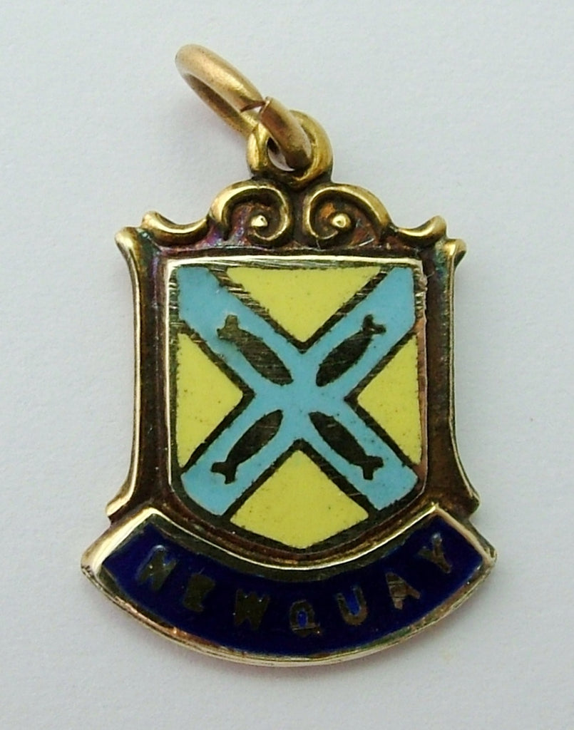 Vintage 1970's 9ct GOLD & Enamel Shield Charm for NEWQUAY in Cornwall Shield Charm - Sandy's Vintage Charms