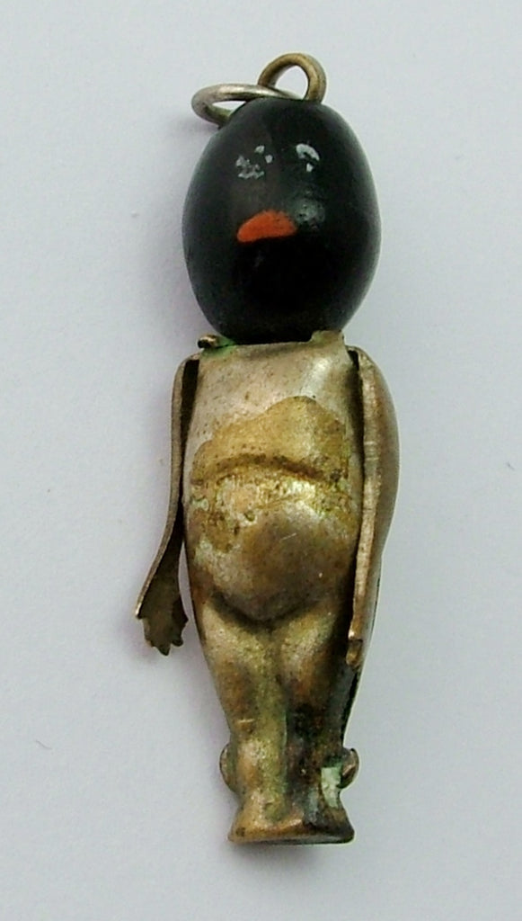 Antique c1910-1915 Brass & Wood Fumsup and Touch Wood Charm Antique Charm - Sandy's Vintage Charms