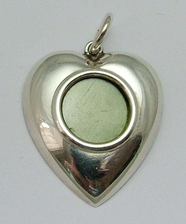 Vintage 1930's Silver Heart Shaped Charm or Pendant with Locket Front 1920s-1950s Charm - Sandy's Vintage Charms