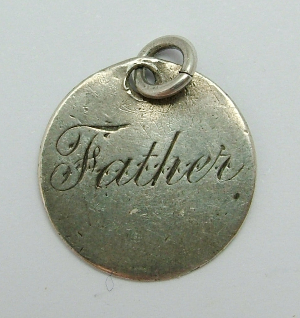 Antique Victorian Silver Engraved Love Token Coin Charm FATHER Love Token - Sandy's Vintage Charms