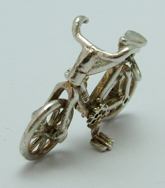 Large Vintage 1970's Silver Bicycle Charm with Moving Wheel Silver Charm - Sandy's Vintage Charms