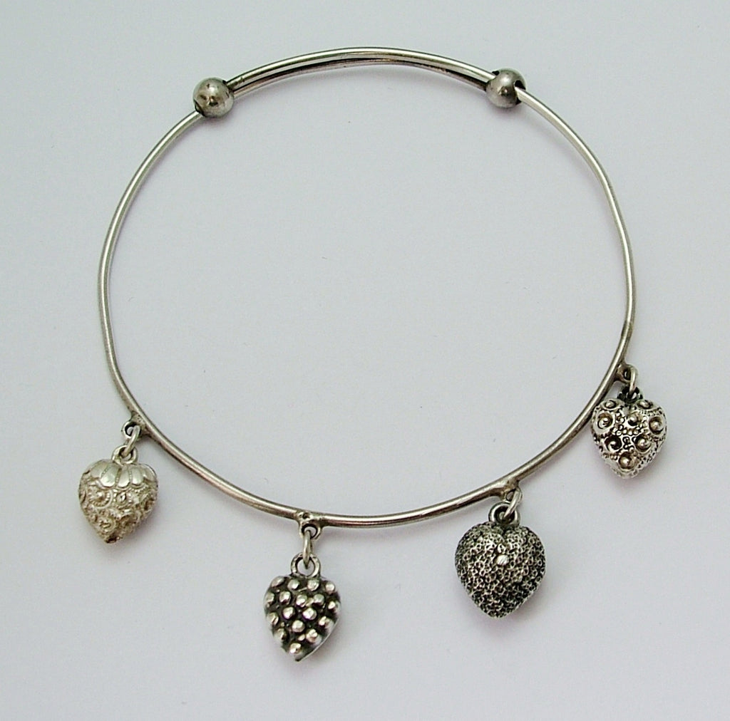 Antique Victorian Silver & Puffy Heart Charm Bangle c1900 Antique Charm - Sandy's Vintage Charms