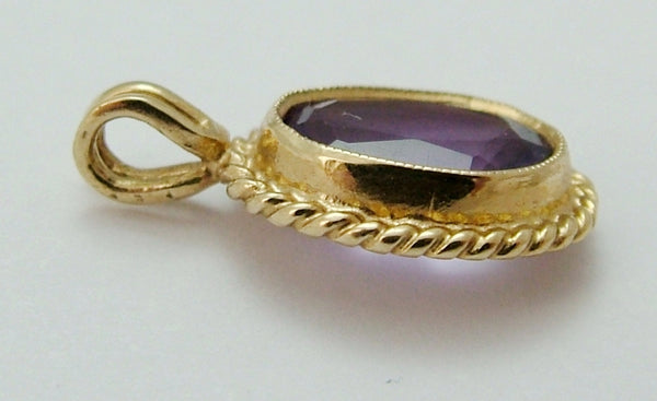 Vintage 1980's 9ct Gold & Faceted Amethyst Pendant or Charm Gold Charm - Sandy's Vintage Charms