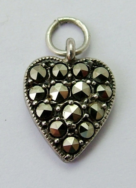 Small Vintage 1930's Silver & Marcasite Heart Charm 1920s-1950s Charm - Sandy's Vintage Charms