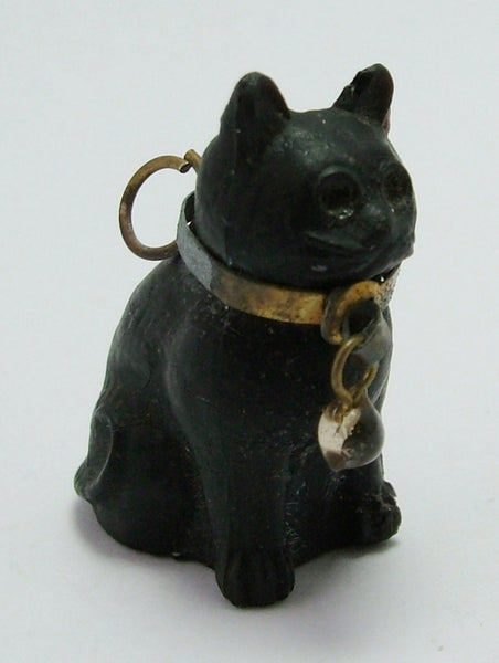 Antique c1910-1920's Lucky Black Frosted Czech Glass Cat Charm - Unusual Sitting Position Antique Charm - Sandy's Vintage Charms