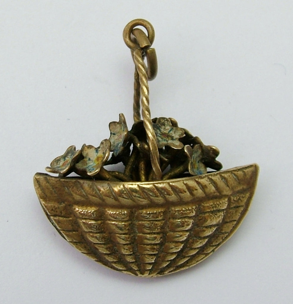 Antique Edwardian Brass Painted Forget Me Not Flowers in a Basket Charm Antique Charm - Sandy's Vintage Charms