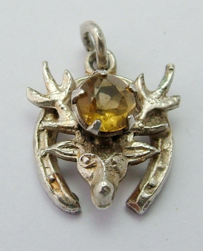 Vintage 1950's Silver Stag Head in a Horseshoe Charm with Citrine Stone Silver Charm - Sandy's Vintage Charms